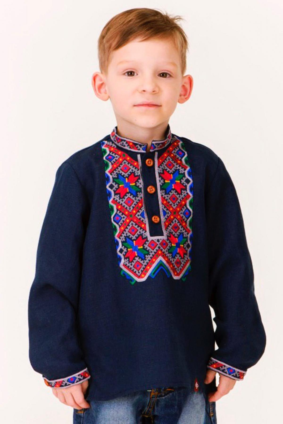 Blue embroidered shirt for a boy with colored embroidery. Photo №1. | Narodnyi dim Ukraine