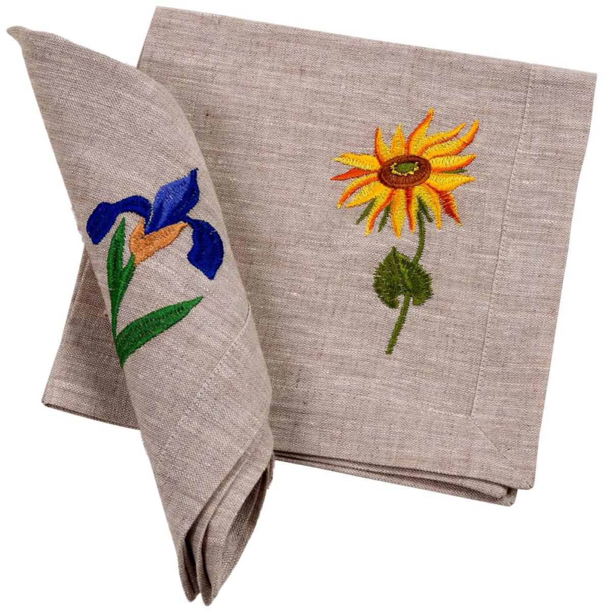 """Embroidered napkin """"Sunflowers Van Gogh"""" 40x40 cm in stock"""