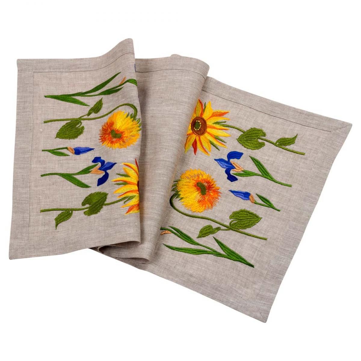 """Embroidered linen ranner for the table """"Sunflowers Van Gogh"""" 90x40 cm - buy Kyiv"""