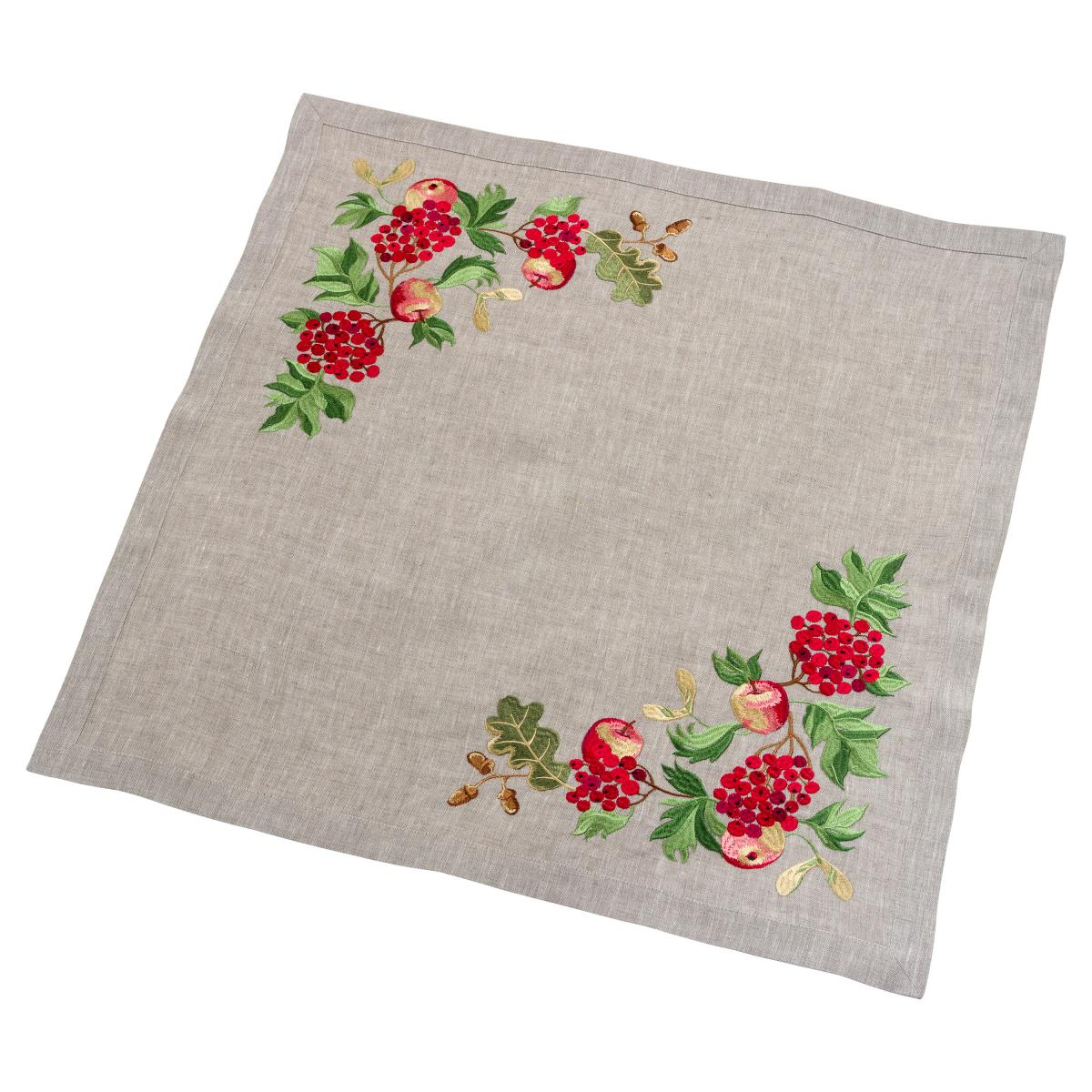 Linen tablecloth on a table Viburnum with apples 65 * 65
