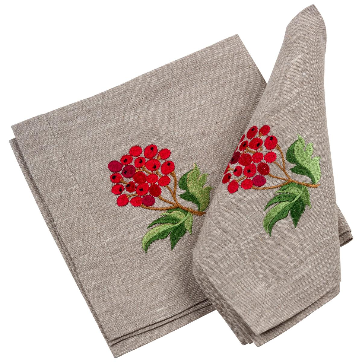 Linen napkin on the table Viburnum with apples 40 * 40