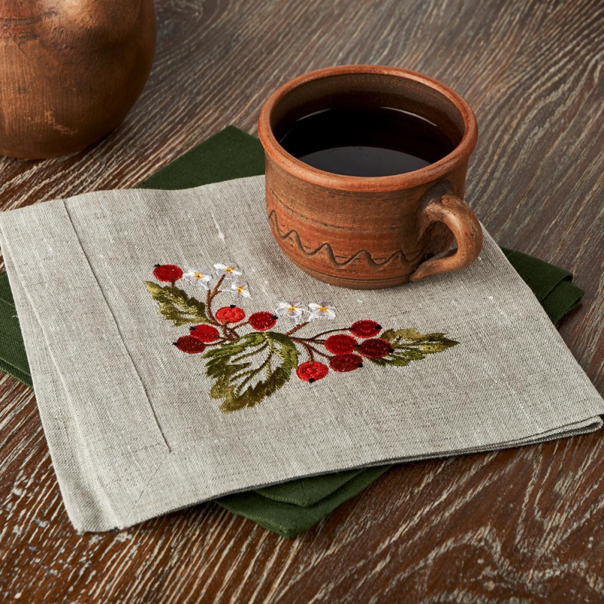 Льняная салфетка на стол Калина  40 * 40 . Фото №1. | Народный дом Украина