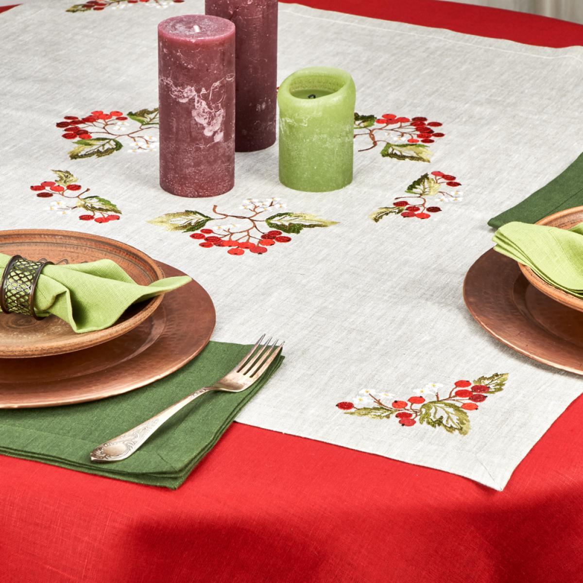 Linen tablecloth on a table Viburnum 90* 90