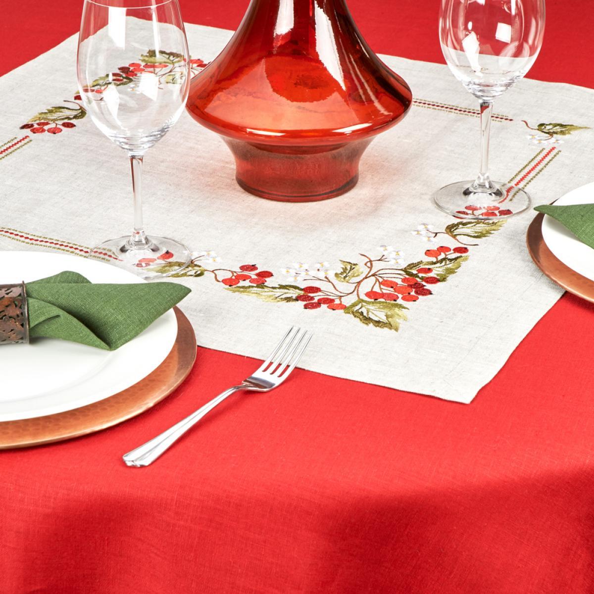Linen tablecloth on a table Viburnum  65 * 65