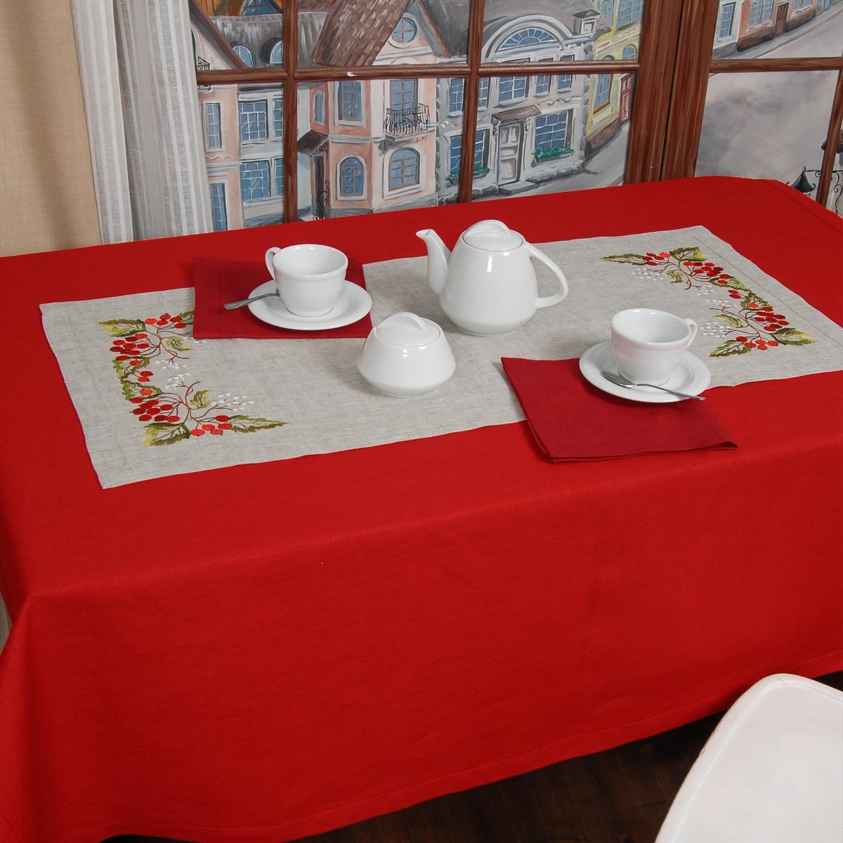 Linen tablecloth on a table Viburnum  90*40