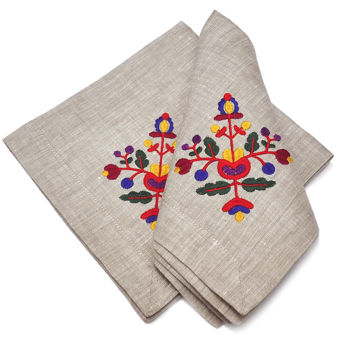 Linen napkin on the table Flowers 40 * 40