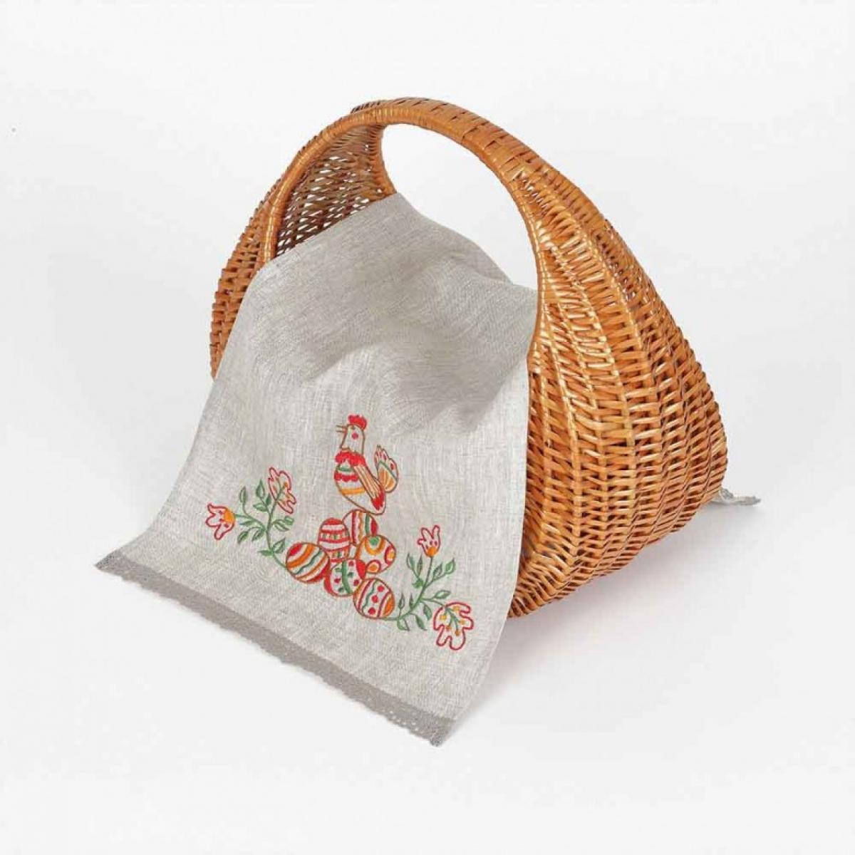 Вышитая салфетка на корзину Писанки 65 * 33 серый льон. Фото №2. | Народный дом Украина