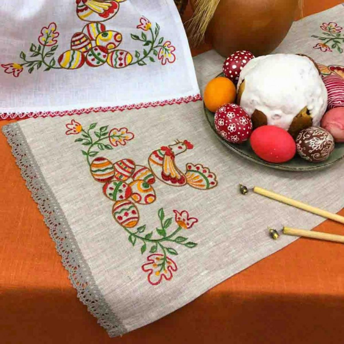 Вышитая салфетка на корзину Писанки 65 * 33 серый льон. Фото №1. | Народный дом Украина