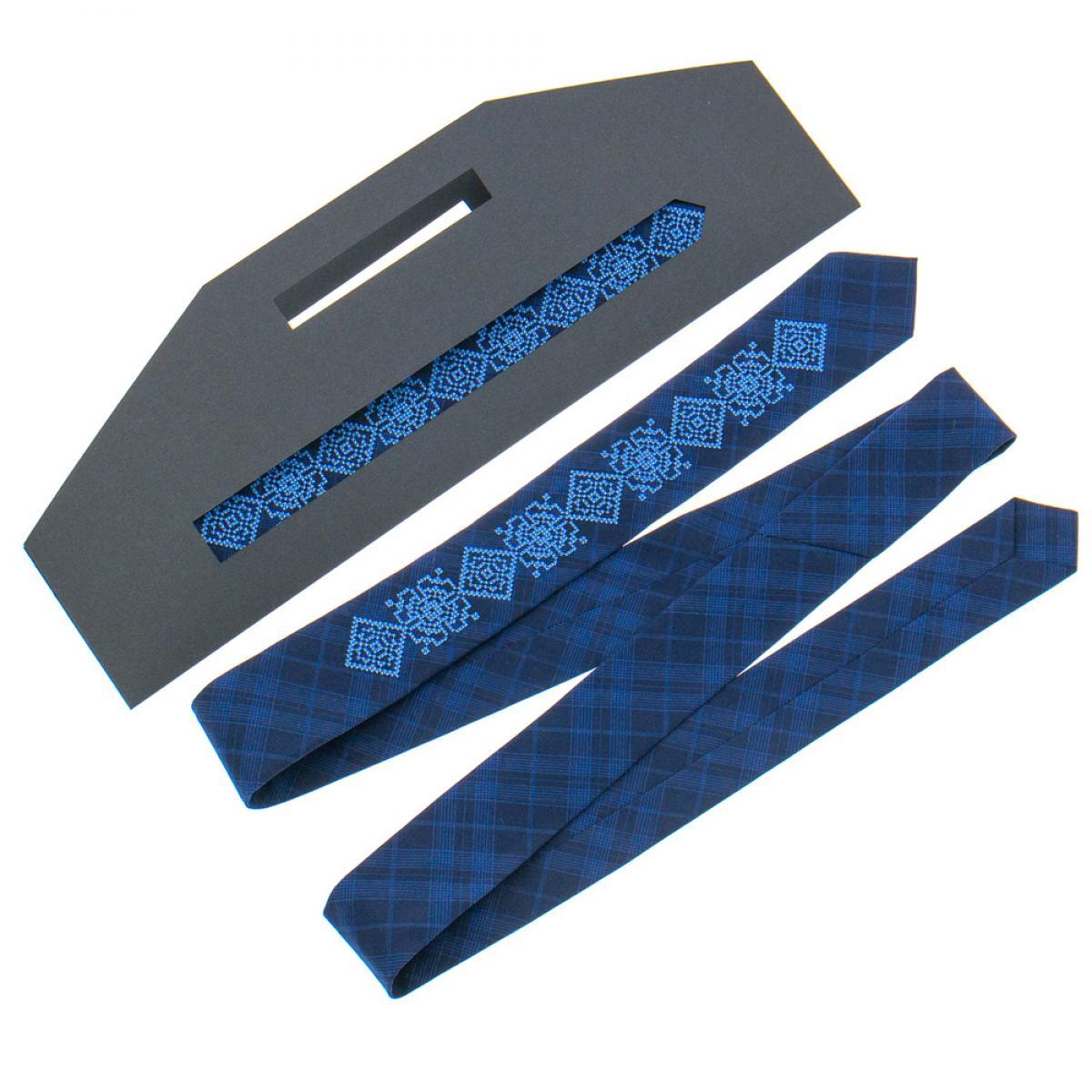 Тонка вишита краватка синя. Фото №1. | Народний дім Україна