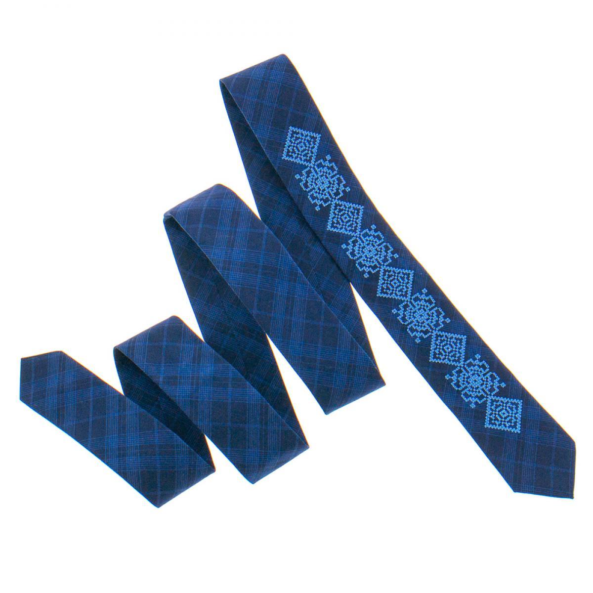 Тонка вишита краватка синя. Фото №3. | Народний дім Україна