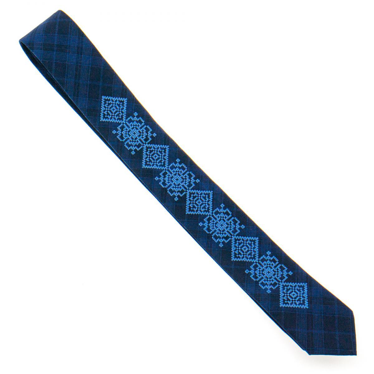 Тонка вишита краватка синя. Фото №4. | Народний дім Україна