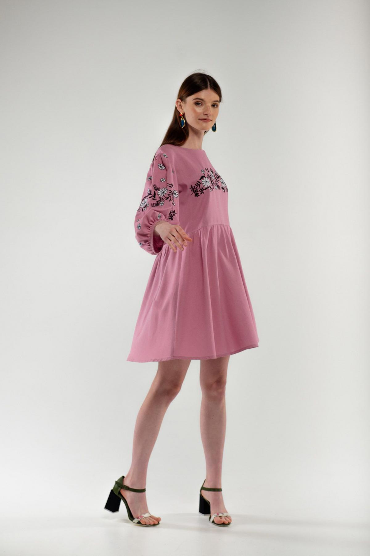 Платье вышиванка Кукушка пудра. Фото №2. | Народный дом Украина