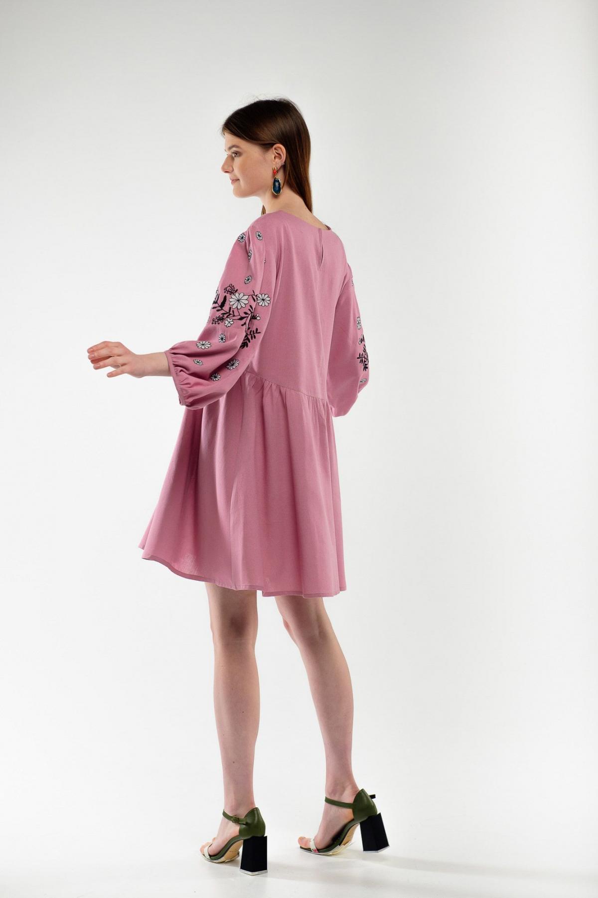 Платье вышиванка Кукушка пудра. Фото №3. | Народный дом Украина