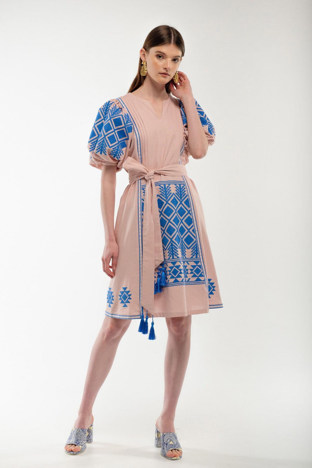 Платье вышиванка Милося пудра. Фото №2. | Народный дом Украина