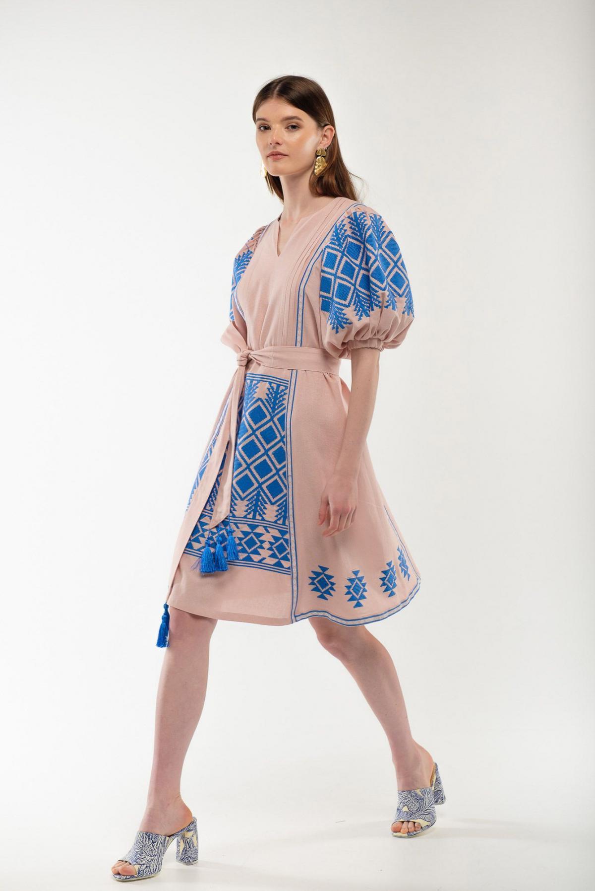 Платье вышиванка Милося пудра. Фото №4. | Народный дом Украина