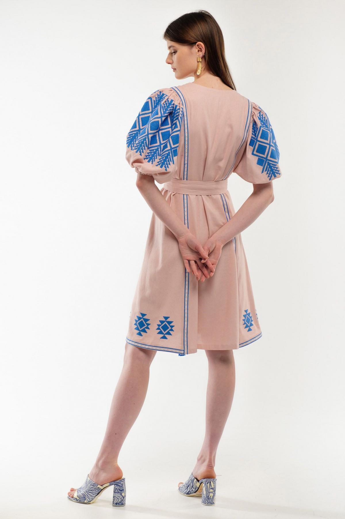 Платье вышиванка Милося пудра. Фото №5. | Народный дом Украина