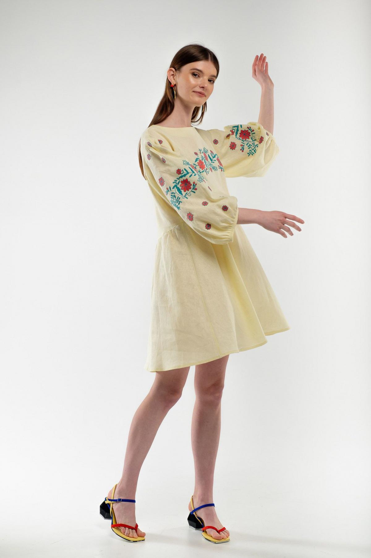 Dress embroidered cuckoo yellow. Photo №1. | Narodnyi dim Ukraine