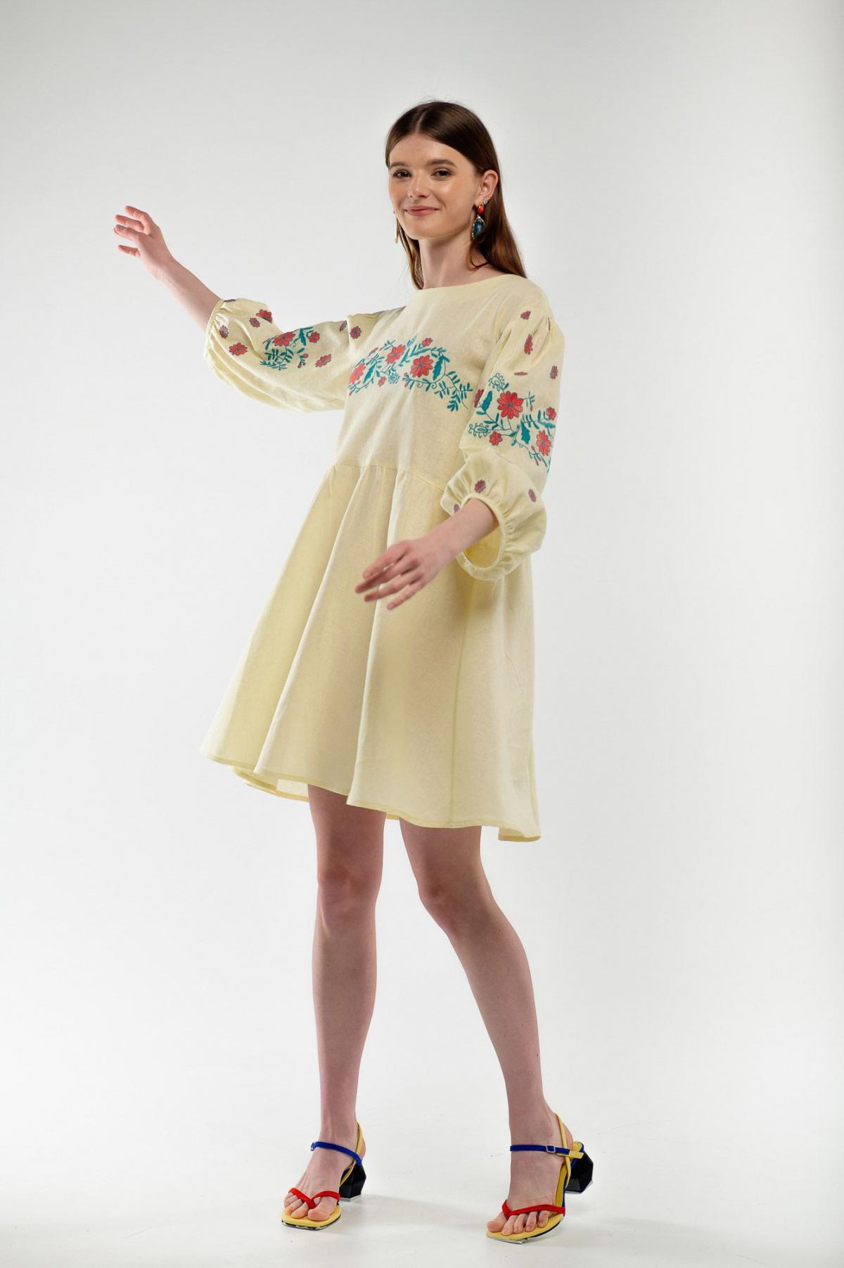 Dress embroidered cuckoo yellow. Photo №3. | Narodnyi dim Ukraine