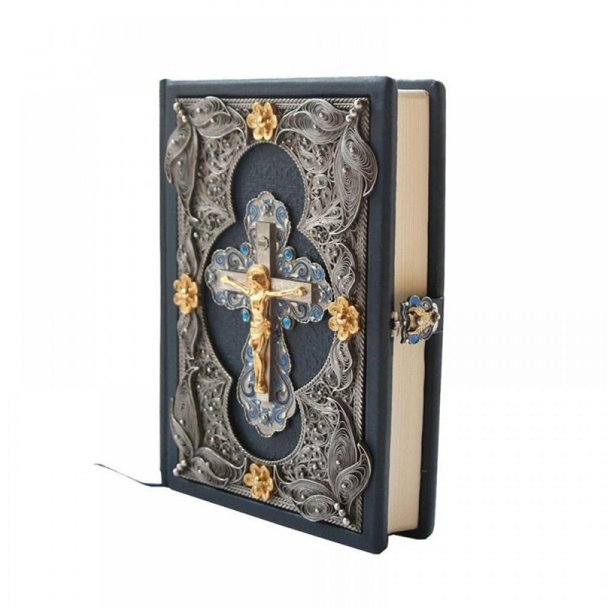 The book The Bible in a precious decoration in a leather cover (in Ukrainian). Photo №2. | Narodnyi dim Ukraine