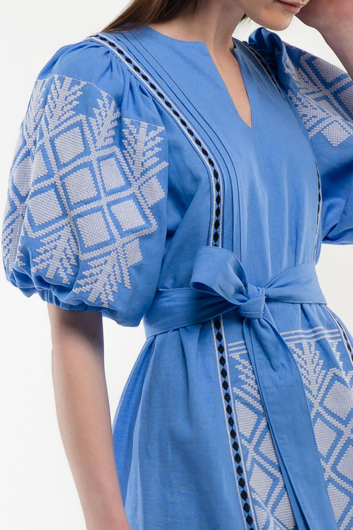 Платье вышиванка Милося голубое. Фото №3. | Народный дом Украина
