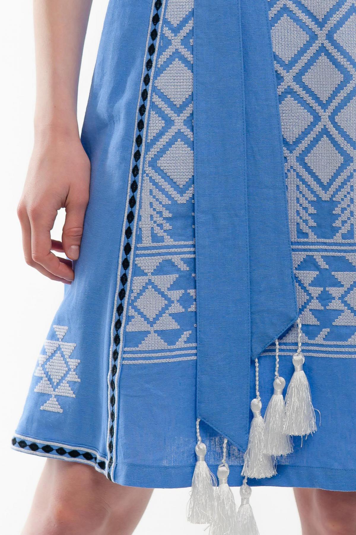Платье вышиванка Милося голубое. Фото №4. | Народный дом Украина