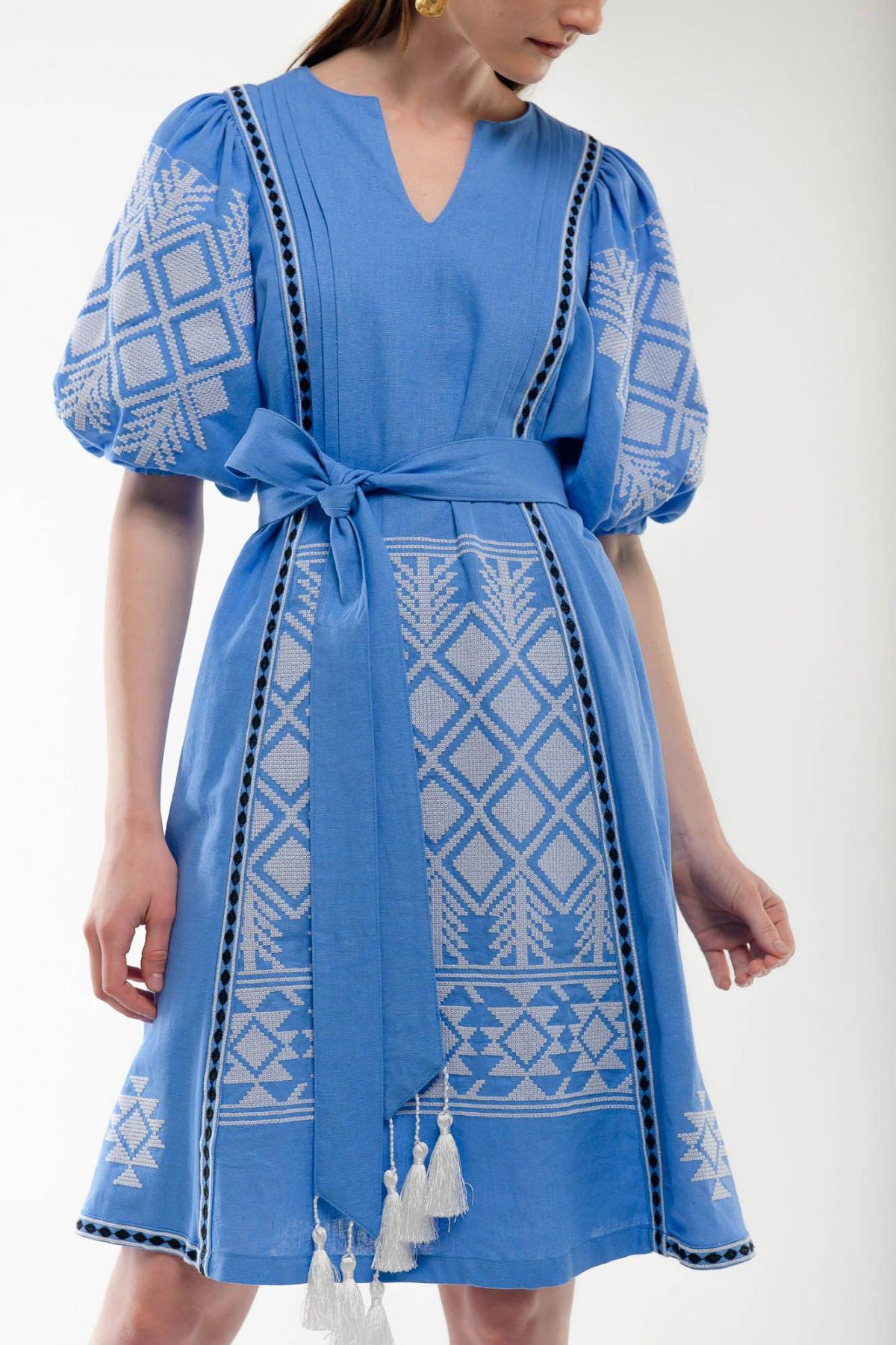 Платье вышиванка Милося голубое. Фото №2. | Народный дом Украина