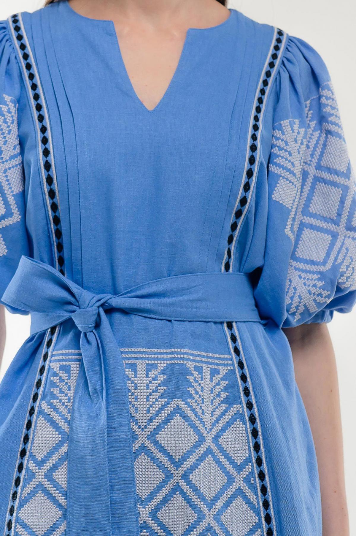 Платье вышиванка Милося голубое. Фото №6. | Народный дом Украина