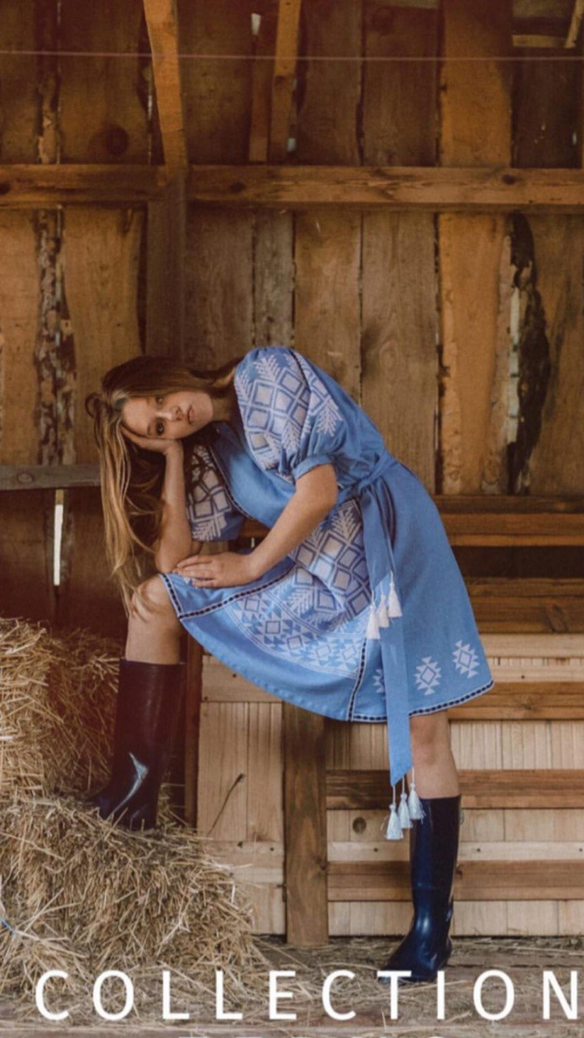 Embroidered dress Washed blue. Photo №1. | Narodnyi dim Ukraine