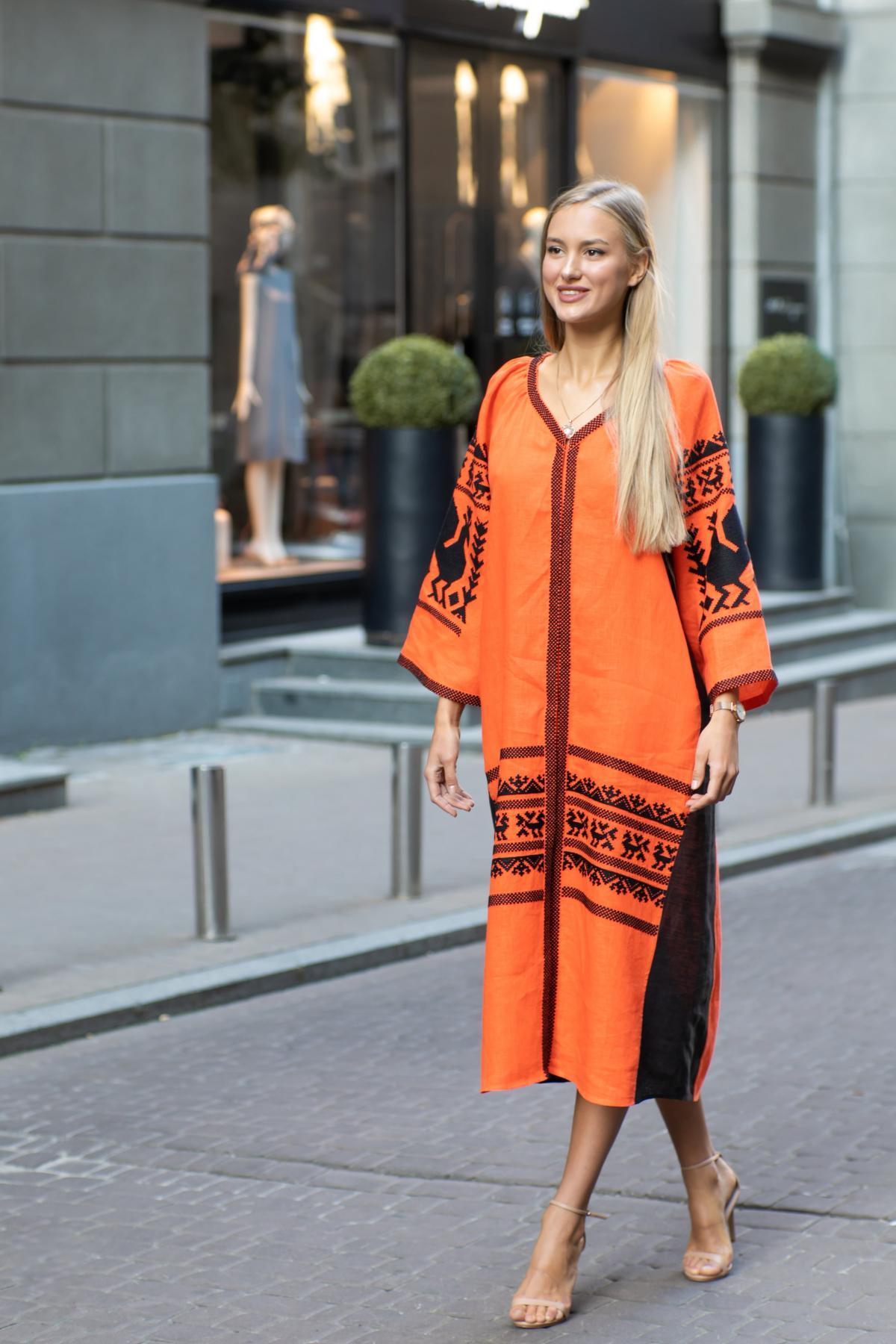 Orange embroidered dress. Photo №1. | Narodnyi dim Ukraine