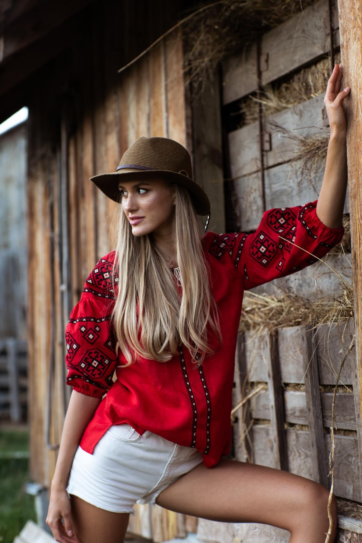 Female red embroidery with sleeve 3/4. Photo №2. | Narodnyi dim Ukraine