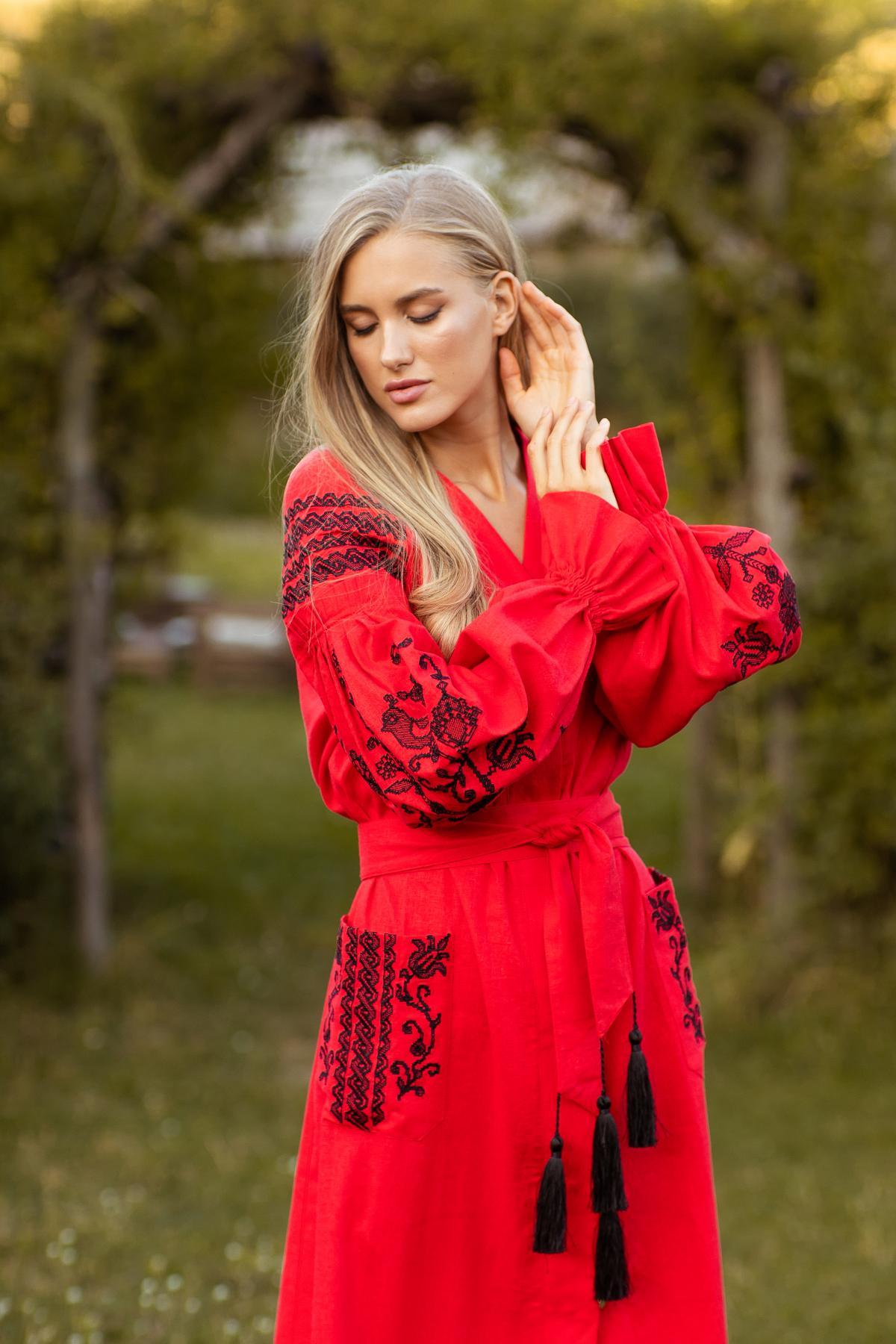 Red long embroidered dress. Photo №5. | Narodnyi dim Ukraine