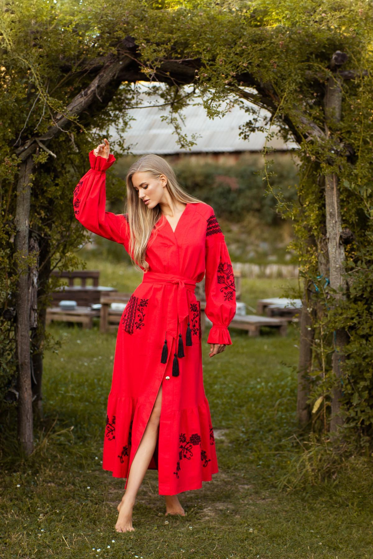 Red long embroidered dress. Photo №1. | Narodnyi dim Ukraine
