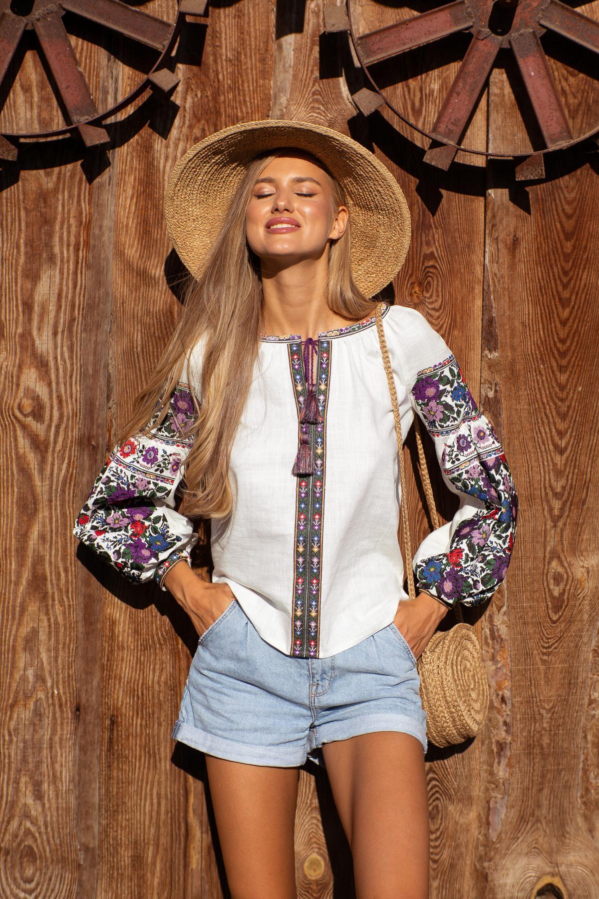 Women's embroidered shirt Borshchiv flowers. Photo №1. | Narodnyi dim Ukraine