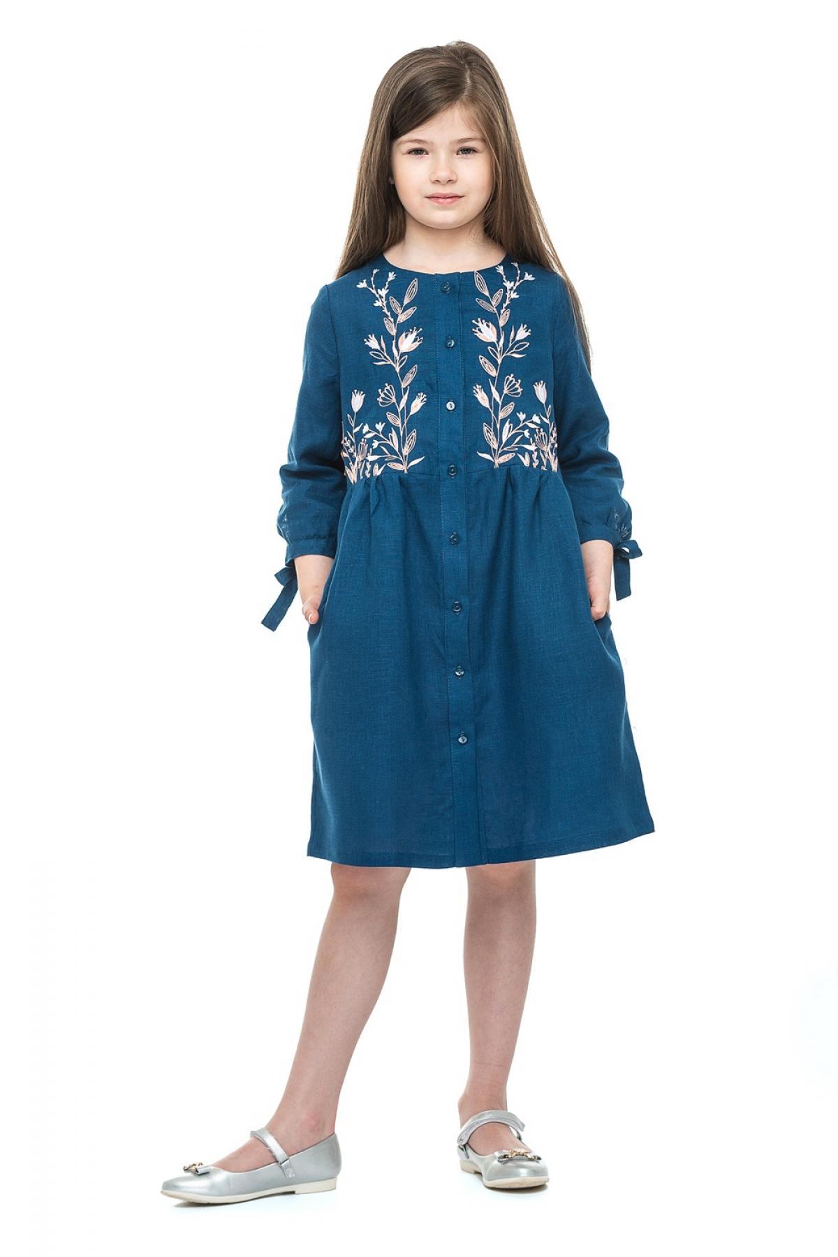 Детское синее льняное вышитое платье для девочки. Фото №1. | Народный дом Украина