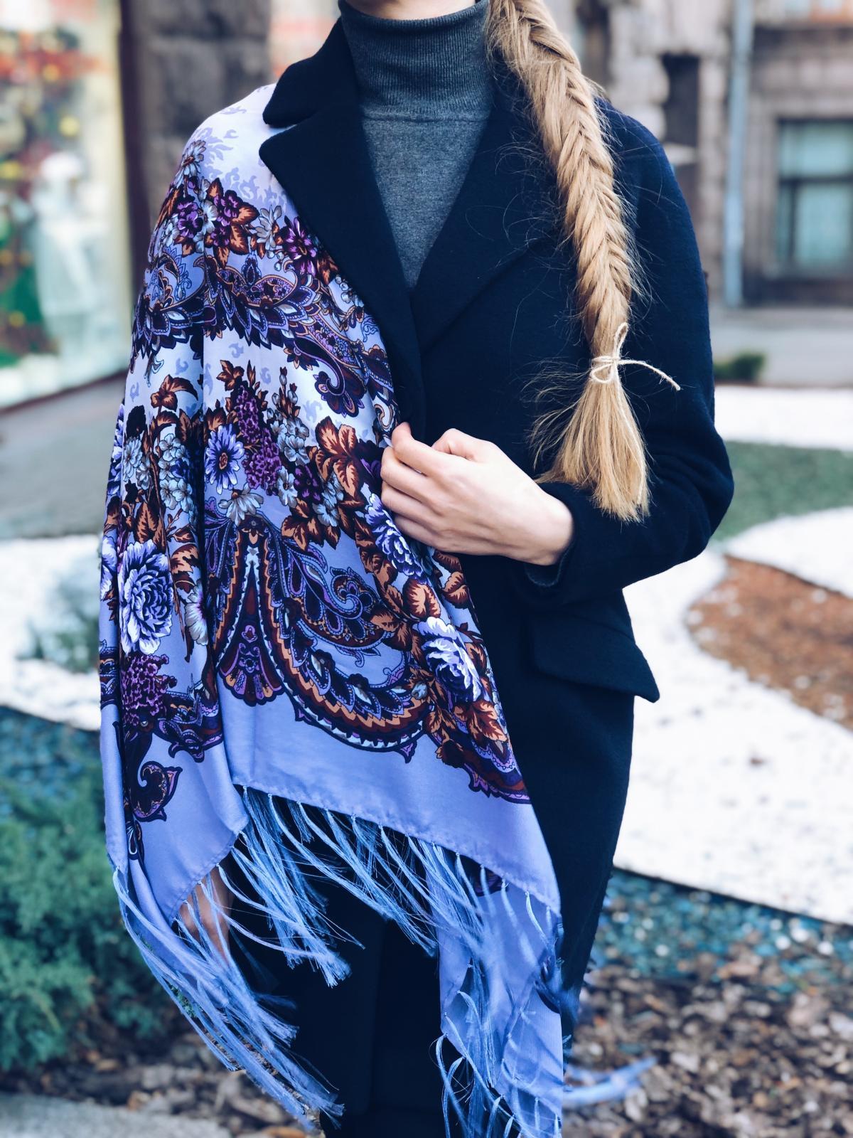 Фіолетова хустка українська з візерунком. Фото №1. | Народний дім Україна
