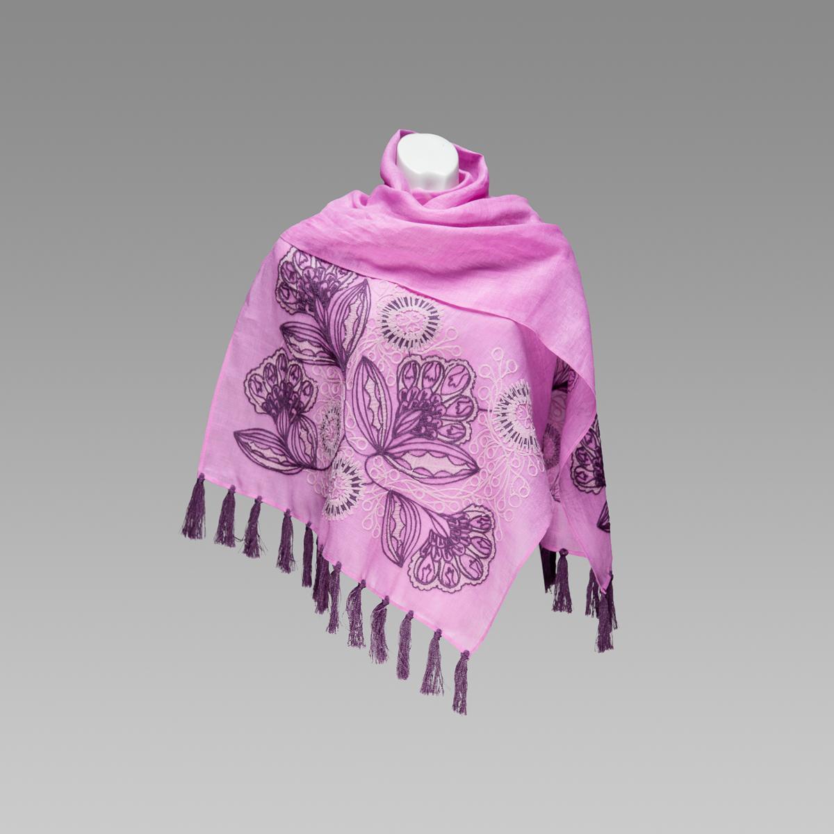 Шаль Ексклюзивна фіолетова вишита на тоненькому льоні