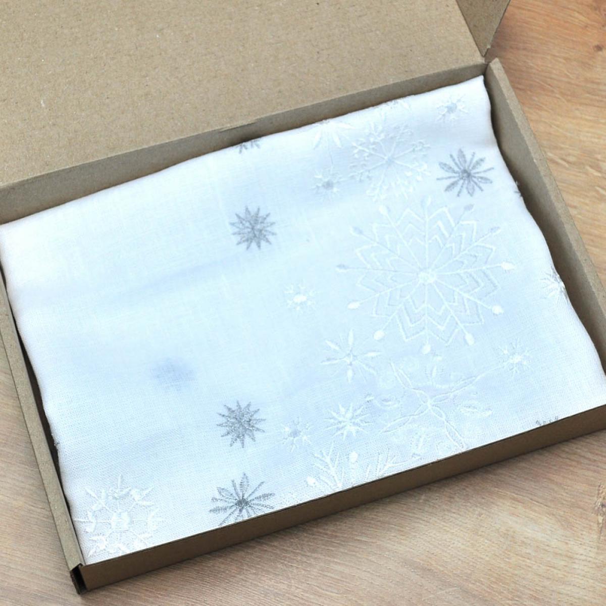 Лляна серветка Сніжинки  40*40 . Фото №5. | Народний дім Україна
