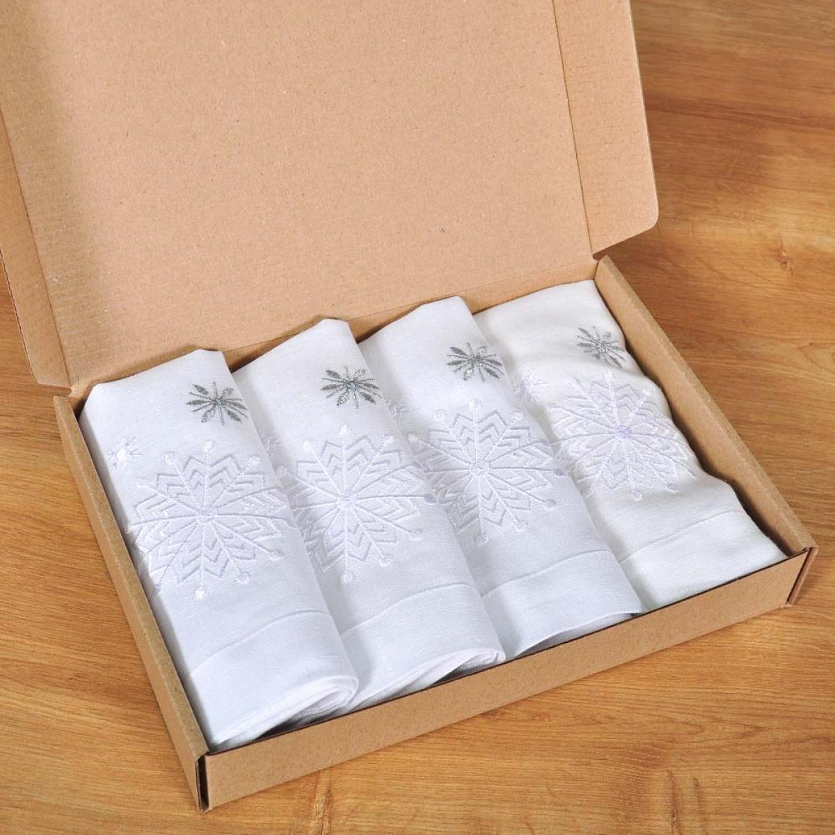 Set of snowflakes - 4 napkins 40 * 40 (white linen)