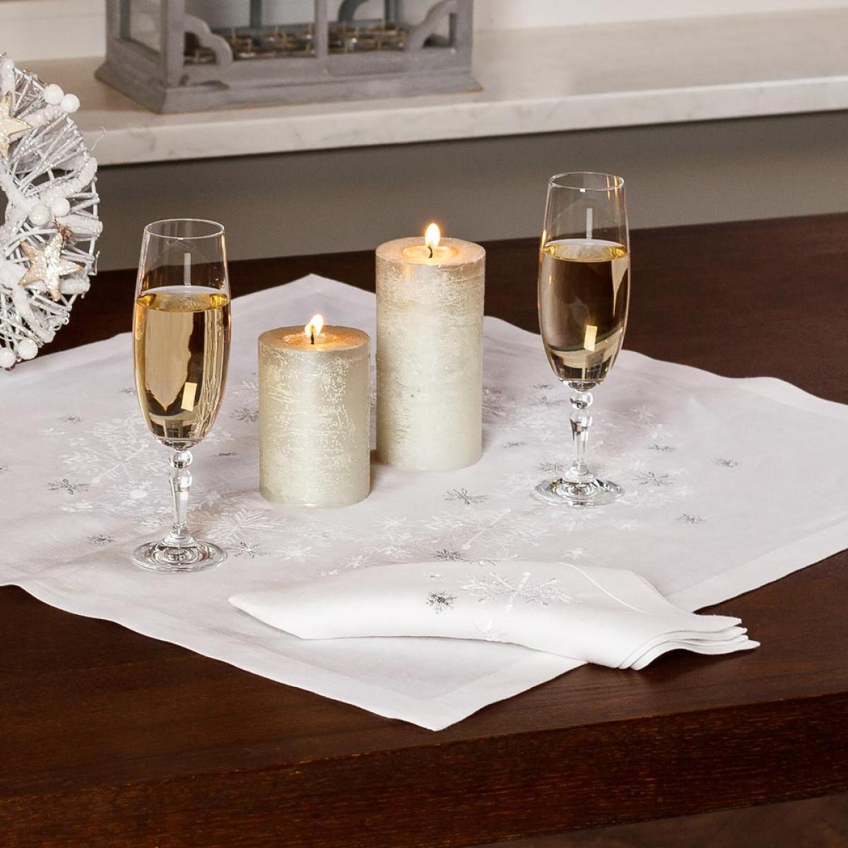 "Linen tablecloth (table) ""SNOWFLAKES"" 65 * 65 CM"
