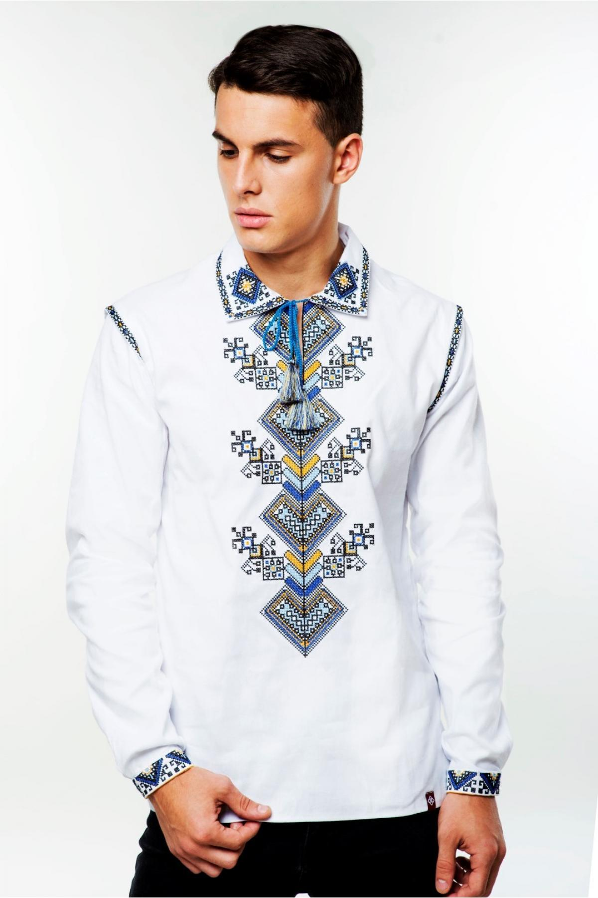 White men's embroidered shirt Tree of Life. Photo №1. | Narodnyi dim Ukraine