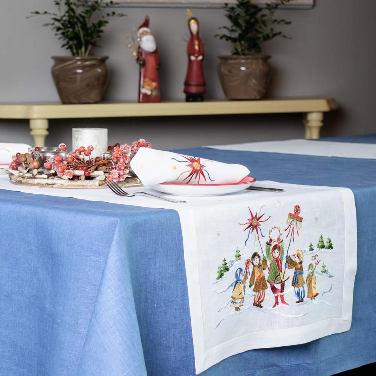 Linen runner on the table Christmas 140 * 45