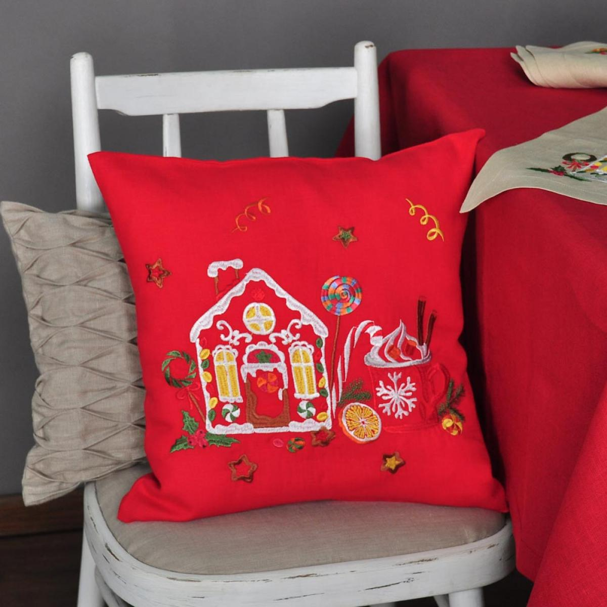 Pillowcase with embroidery Taste of Christmas 40 * 40. Photo №1. | Narodnyi dim Ukraine