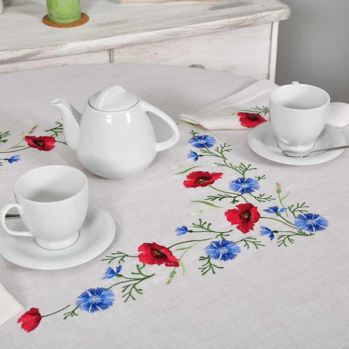 Tablecloth Poppies with cornflowers 90*90