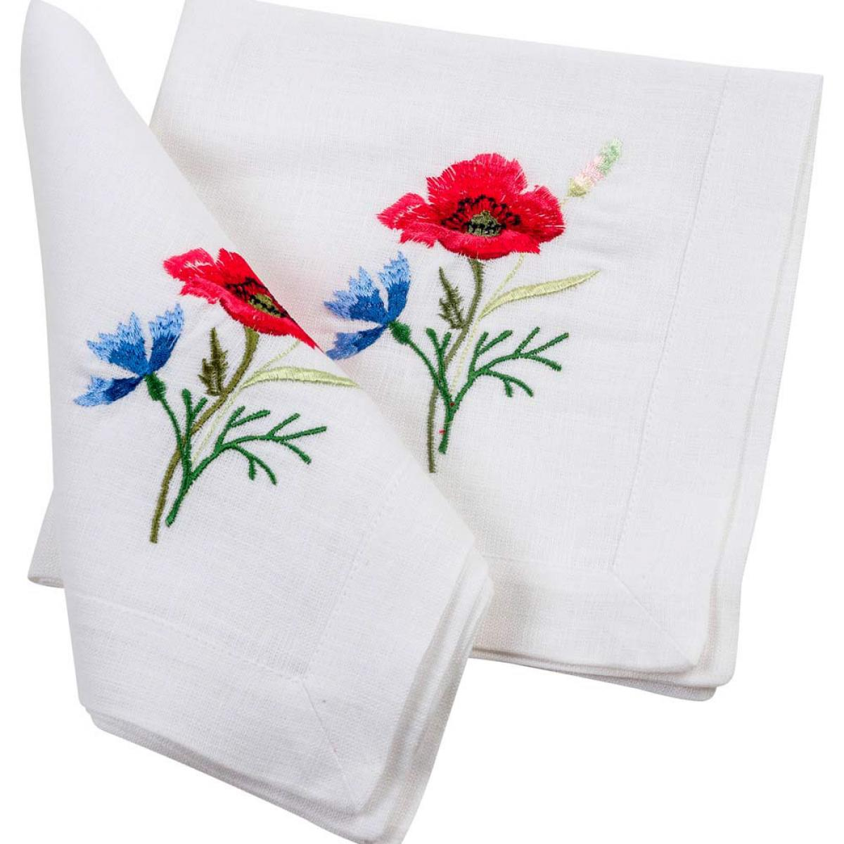Set of napkins Poppies with cornflowers - 4 pieces