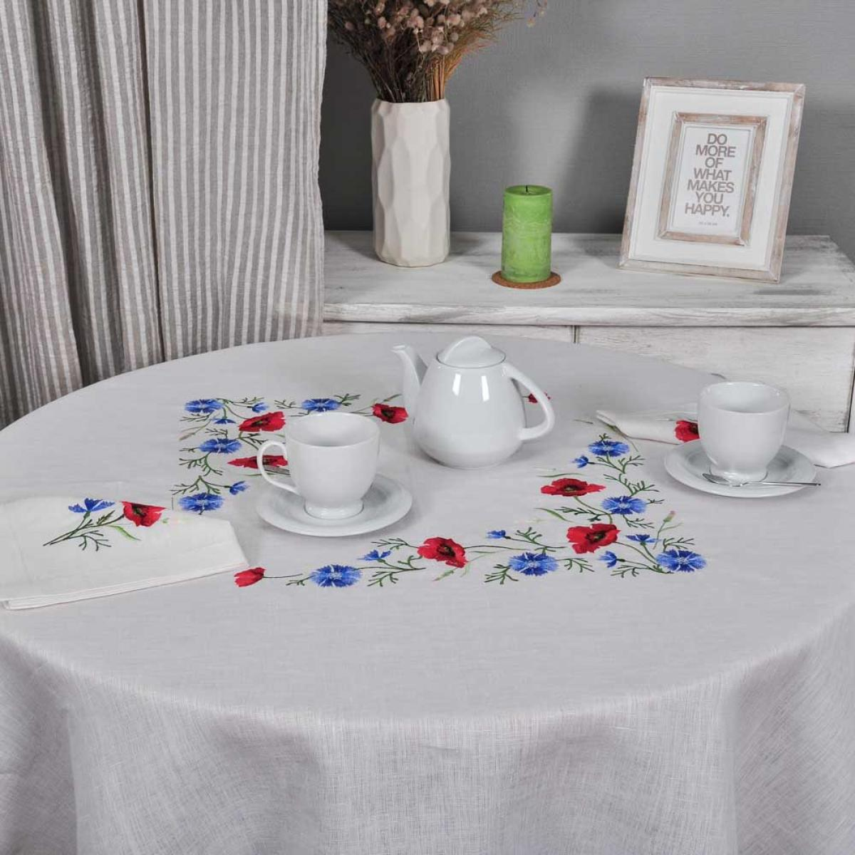 Embroidered tablecloth and 6 napkins Poppies with cornflowers d-214 cm