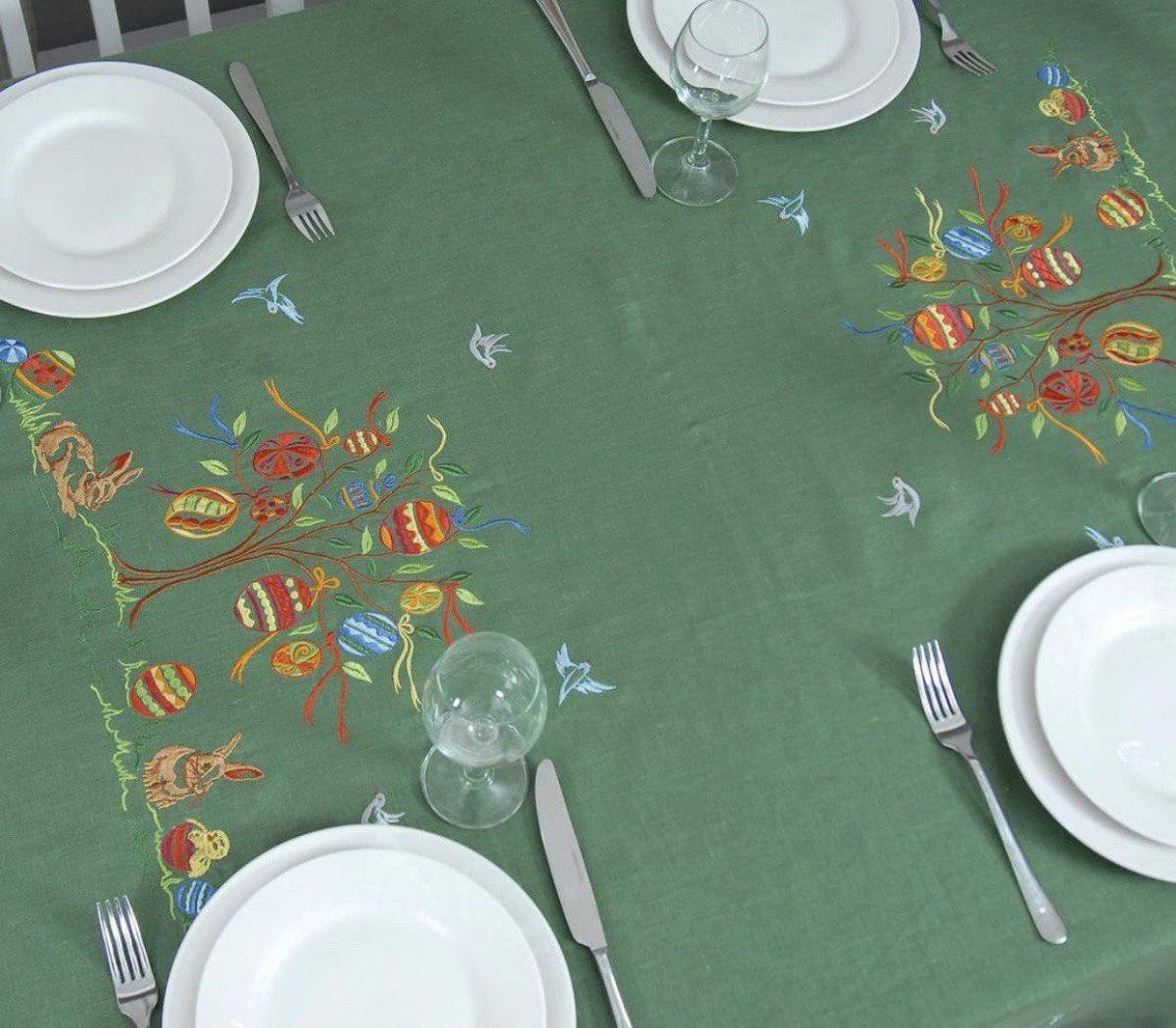 Лляна скатертина на  стіл 240*140 см, Великдень . Фото №2.   Народний дім Україна