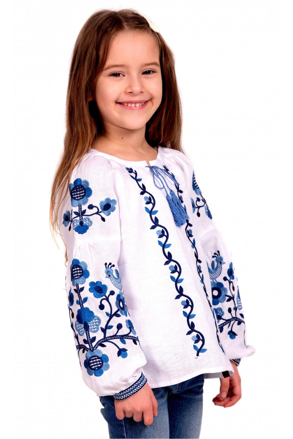 Embroidery for a girl white with blue embroidery
