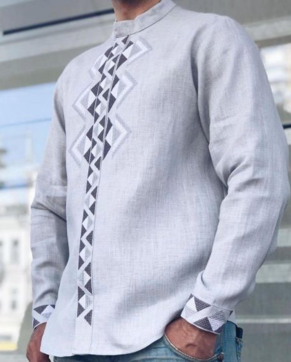 Современная мужская вышиванка серая. Фото №5. | Народный дом Украина